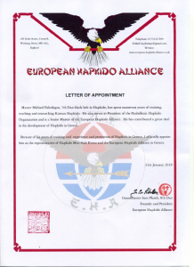 Panhellenic Hapkido Organization European Hapkido Alliance Letter of Appointment